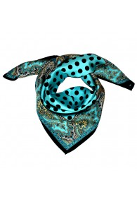 Scarf Men 100% Silk turquoise black green aqua points LORENZO CANA