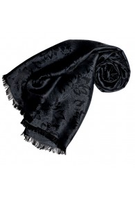 Women's Shawl Viscose Silk Paisley Black LORENZO CANA