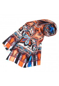 Women's Shawl Silk Orange Blue Red LORENZO CANA