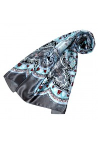 Scarf for Women light blue grey red silk floral LORENZO CANA