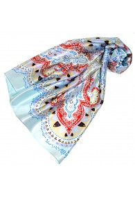 Scarf for Women light blue red white silk floral LORENZO CANA
