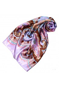 Scarf for Women purple purple light blue brown silk floral LORENZO CANA