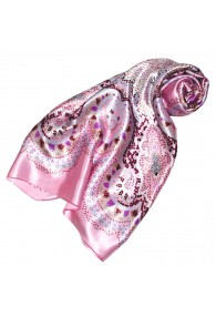Scarf for Women pink light grey purple silk floral LORENZO CANA