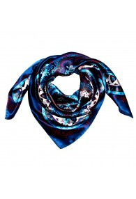 Scarf for men dark blue silver red silk floral LORENZO CANA