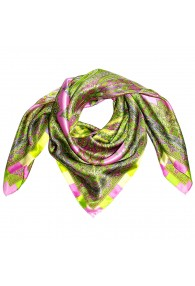 Scarf for men green pink gold silk floral LORENZO CANA