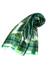 Scarf for women light green aqua petrol silk floral LORENZO CANA