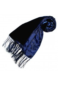 Women's Shawl Silk Velvet Damast Blue LORENZO CANA