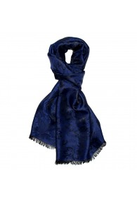 Men's Shawl Viscose Silk Paisley Dark Blue LORENZO CANA