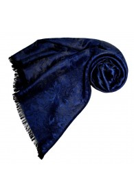 Women's Shawl Viscose Silk Paisley Dark Blue LORENZO CANA