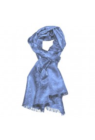 Men's Shawl Viscose Silk Paisley Light Blue LORENZO CANA