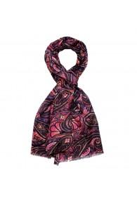 Herrenschaltuch Damen Baumwolle Seide Paisley rosa violett LORENZO CANA