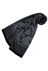 Women's Paisley Scarf Silk Cotton Grey LORENZO CANA