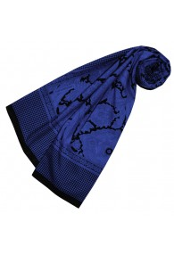 Women's Scarf Silk Cotton Paisley Blue LORENZO CANA