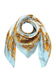 Men's Shawl Light Blue White Gold Silk Floral LORENZO CANA