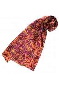 Silk scarf ladies orange purple berry Paisley LORENZO CANA