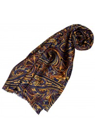 Silk scarf ladies blue orange gold Paisley LORENZO CANA