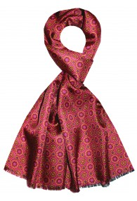 Men's Shawl Silk Wool Polka Dot Burgundy LORENZO CANA