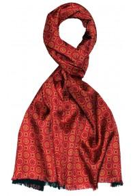 Men's Shawl Silk Wool Polka Dot Orange Red LORENZO CANA