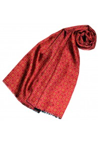 Women's Scarf Silk Wool Polka Dot Orange Red LORENZO CANA