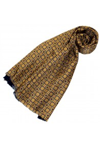 Reversible scarf silk + wool for women Gold LORENZO CANA