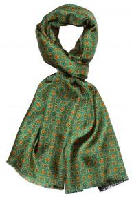 Men's Shawl Silk Wool Polka Dot Green Cyan LORENZO CANA
