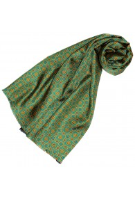 Women's Scarf Silk Wool Polka Dot Green Cyan LORENZO CANA