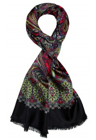 Men's Shawl Silk Wool Paisley Green LORENZO CANA