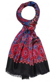 Men's Shawl Silk Wool Paisley Burgundy LORENZO CANA