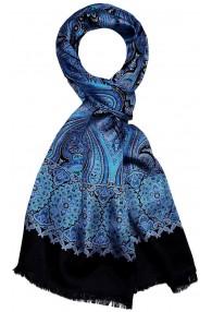 Men's Shawl Silk Wool Paisley Red Blue LORENZO CANA
