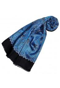Women's Scarf Silk Wool Paisley Red Blue LORENZO CANA