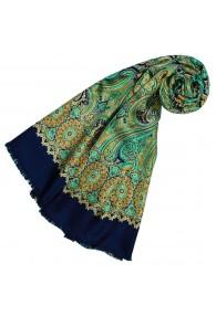 Women's Scarf Silk Wool Paisley Cyan LORENZO CANA