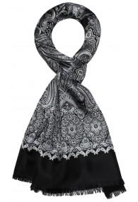 Men's Shawl Silk Wool Paisley Silver LORENZO CANA