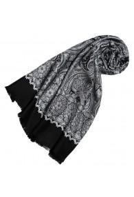 Women's Scarf Silk Wool Paisley Silver LORENZO CANA