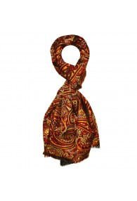 Silk Wool Scarf Paisley Gold Red Crimson For Men LORENZO CANA