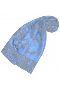 Silk scarf Blue flowers LORENZO CANA