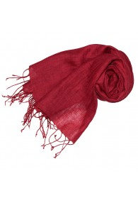 Women's Scarf 100% Linen Unicolored Dark Red LORENZO CANA