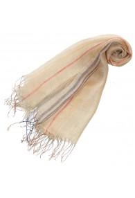 Damenschal 100% Leinen Streifen beige lila LORENZO CANA