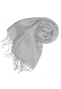 Women's Scarf 100% Linen Unicolored Silver LORENZO CANA