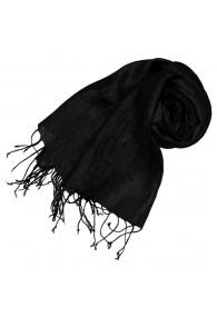 Women's Scarf 100% Linen Unicolored Black LORENZO CANA