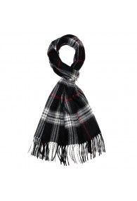 Mister's Scarf 100% Cashmere Black White Red LORENZO CANA