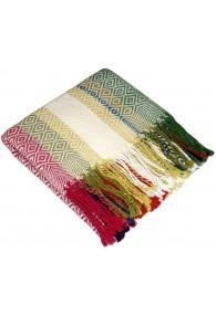 Blanket 100% Alpaca Fair Trade in summer colours LORENZO CANA