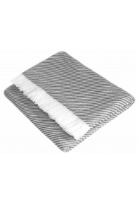 Cashmere blanket light grey white stripes LORENZO CANA