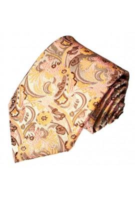 Men's Necktie Pure Silk Floral Beige Red LORENZO CANA