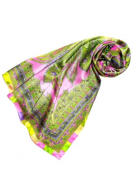 Scarf for Women green pink gold silk floral LORENZO CANA