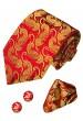 Necktie Set 100% Silk Paisley Red For Men LORENZO CANA